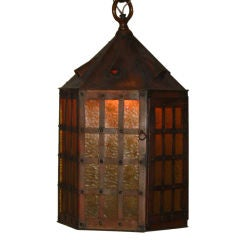 A Arts & Crafts, Mission Period Copper Hanging Light Fixture