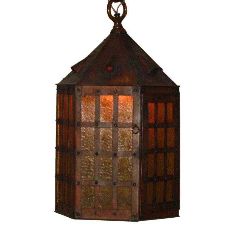 a arts and crafts mission period copper hanging light. Black Bedroom Furniture Sets. Home Design Ideas