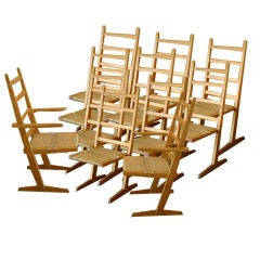 Set of Ten Nakashima Style Conoid Chairs by Gino Russo