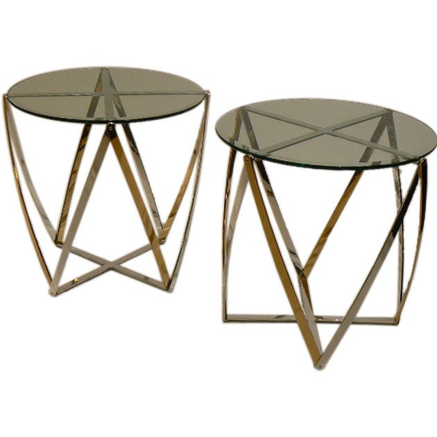 Pair of Chrome & Brass End Tables