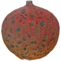Ceramic Apple Bottle with Volcanic Glaze by Josh Herman