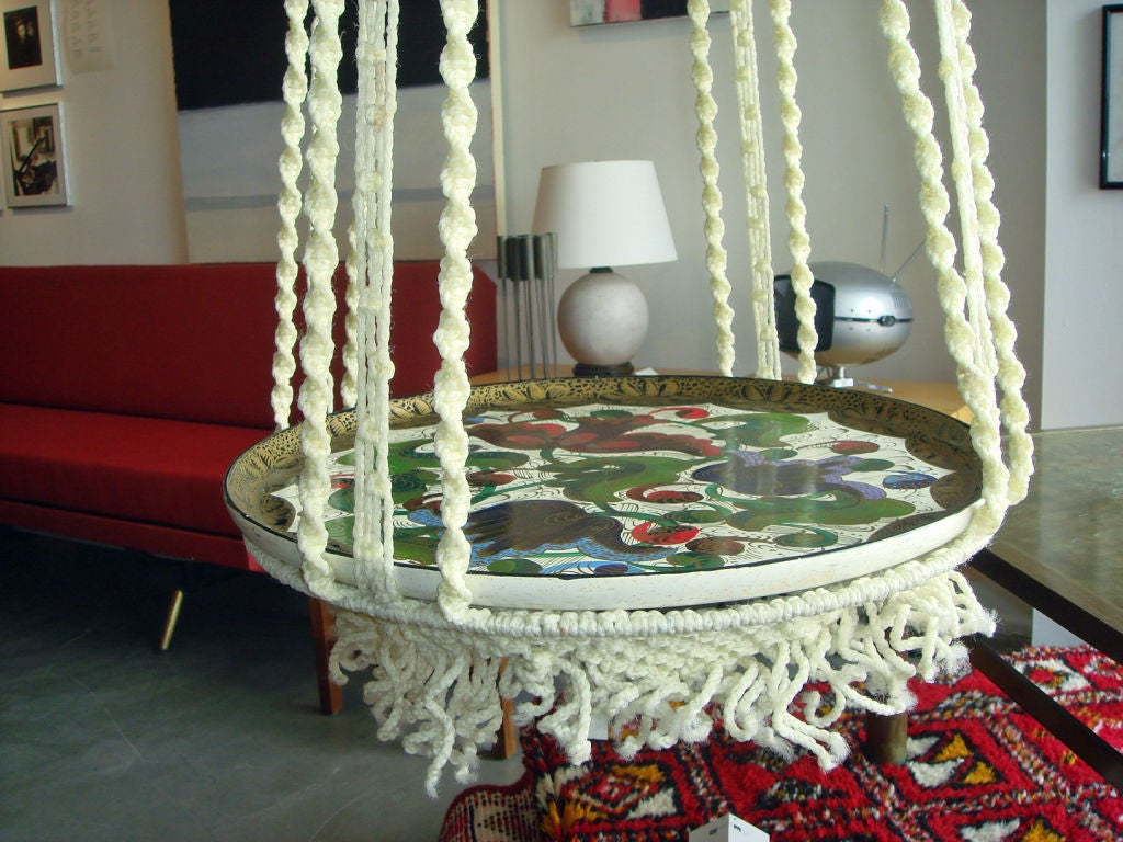 Macrame Hanging Table With Hand Painted Mexican Tray At