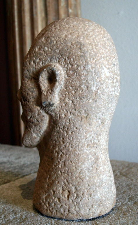 Primitive hand carved stone head of a man at stdibs