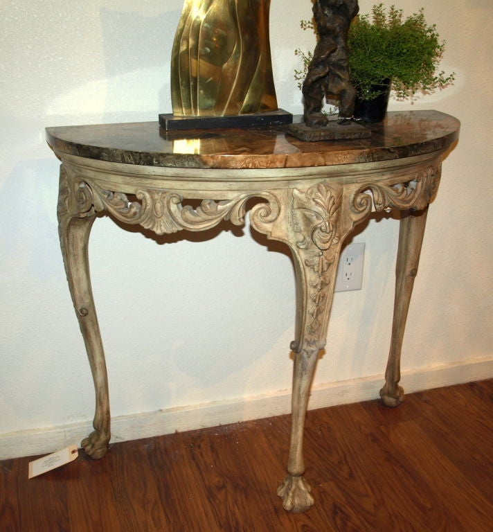 Demilune Carved Wood Console Table 2