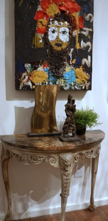 Demilune Carved Wood Console Table 5