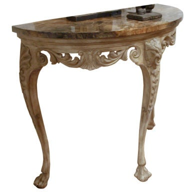 Demilune Carved Wood Console Table