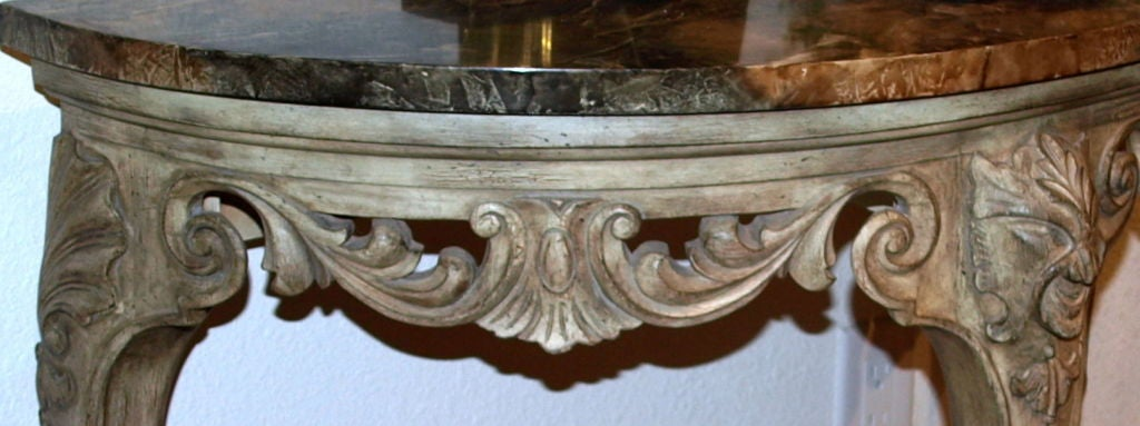 Demilune Carved Wood Console Table 6