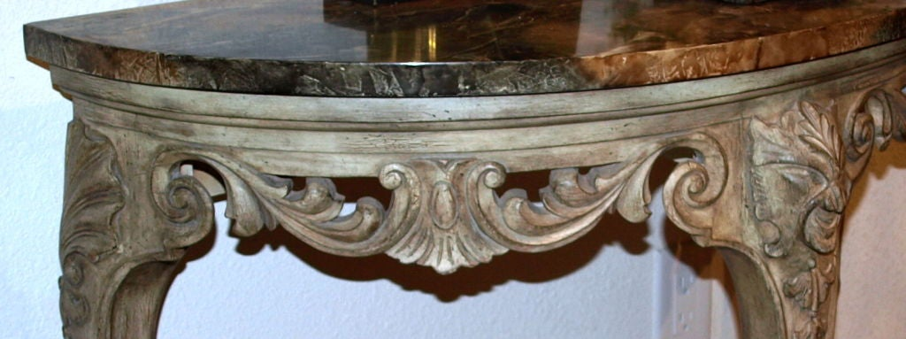 Demilune Carved Wood Console Table 3