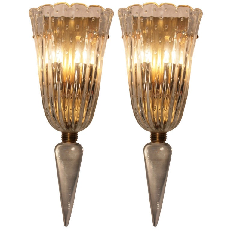Pair of Italian Art Deco Murano Glass Sconces at 1stdibs