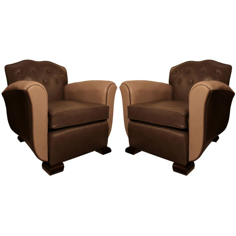 Pair Of French Art Deco Period Dominique Style Club Chairs