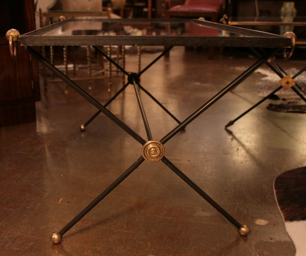 French Art Deco Period Brass Iron And Glass Coffee Table At 1stdibs