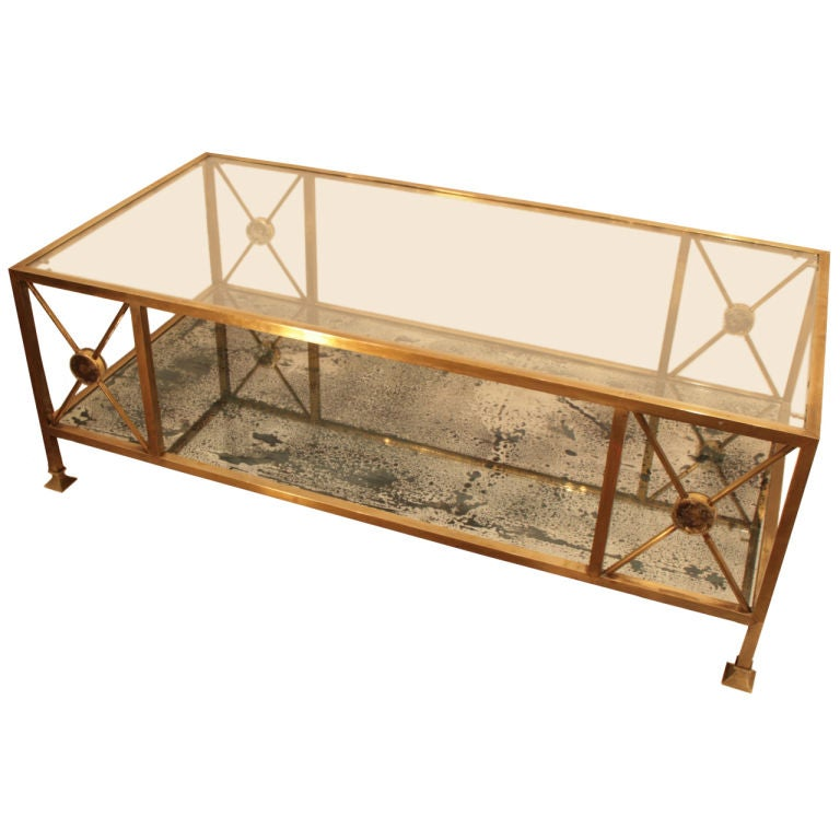 French Art Deco Period Neoclassic Brass Coffee Table At