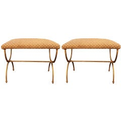 Pair of Spanish Gold Leafed Iron Benches