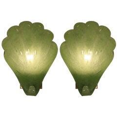 Pair of Italian Vintage Green Murano Glass Sconces