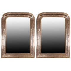 Faux Pair of French Louis Philippe Silver Leafed Mirrors