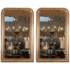 Pair of French Antique Louis Philippe Silver  Leafed Mirrors