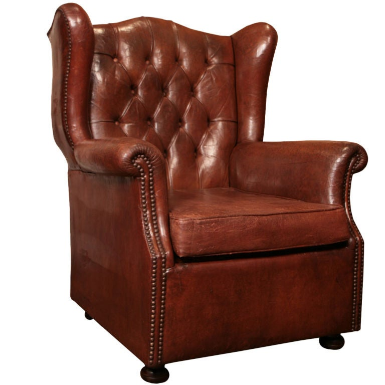 ... English Tufted Leather Wingback Club Chair At 1stdibs ...