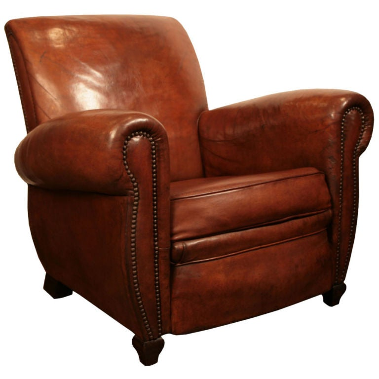 French Art Deco Period Leather Club Chair 1  sc 1 st  1stDibs & French Art Deco Period Leather Club Chair at 1stdibs islam-shia.org