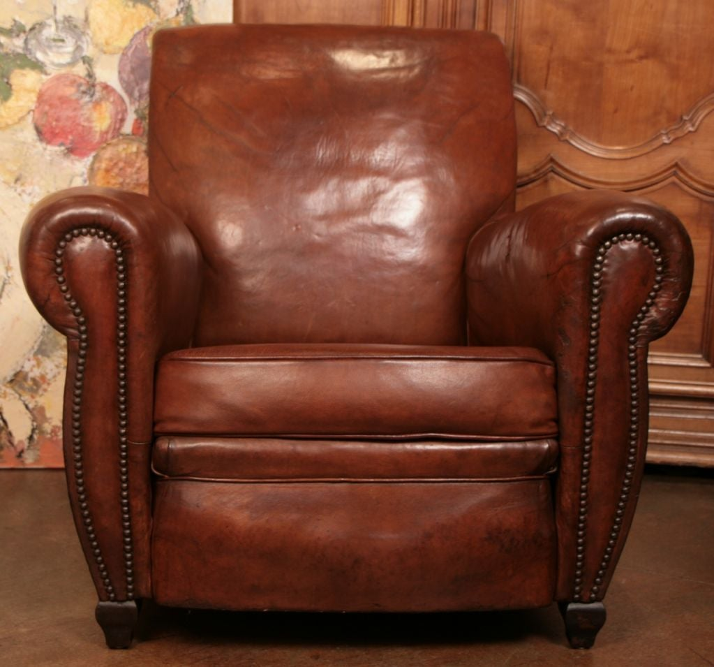 french art deco period leather club chair at 1stdibs