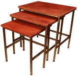 Set of Three Spanish Gilded Iron and Red Leather Nesting Tables