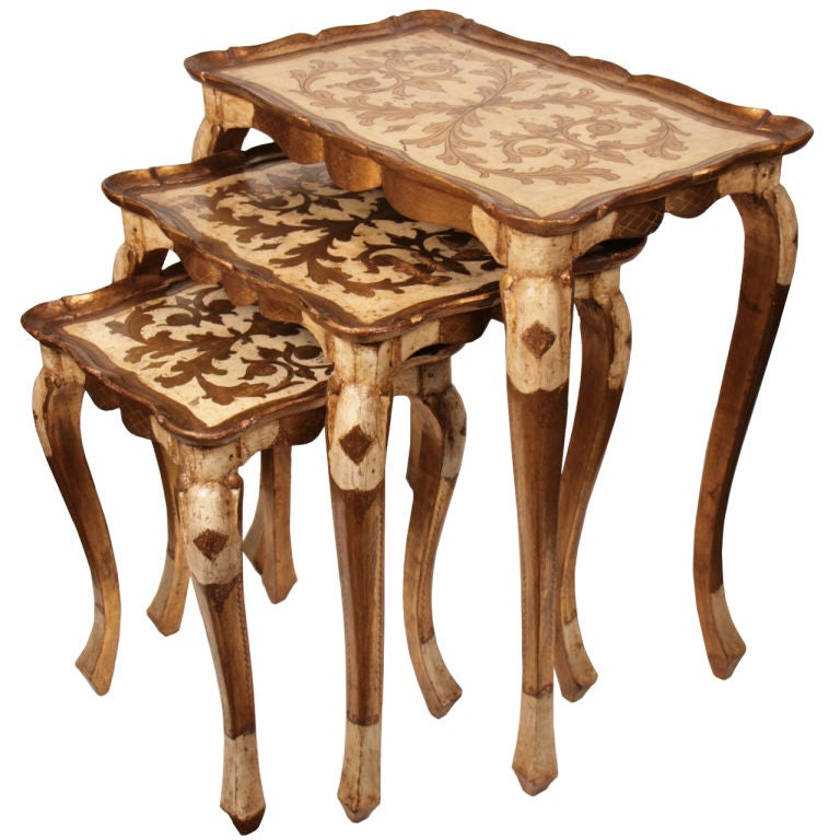 Set of Venetian Gold Leafed Nesting Tables 1