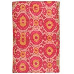 Antique Silk Ikat Uzbek Textile