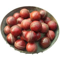 """Set of Vintage 3"""" Red Leather Cricket Balls, United Kingdom, 1950s"""