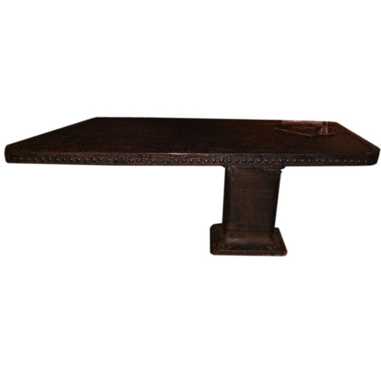 Vintage Riveted Pedestal Desk