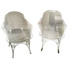 Pair of Vintage White Wire Mesh Garden Chairs, France c. 1960s