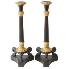 Pair of Bronze Dore Candlesticks