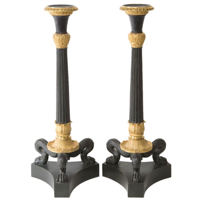 Pair of Bronze Dore Candlesticks For Sale