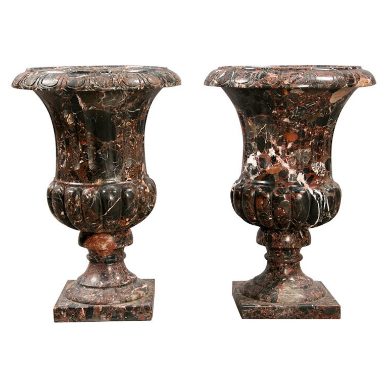 Pair of large classical variegated marble urns at 1stdibs - Large decorative vases and urns ...