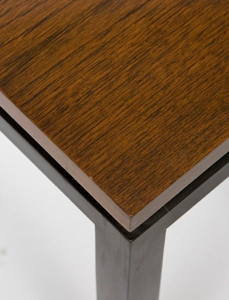 Pair of large Harvey Probber rosewood and black lacquer end tables.