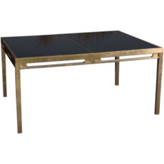 Jansen Brass and Black Glass Dining Table