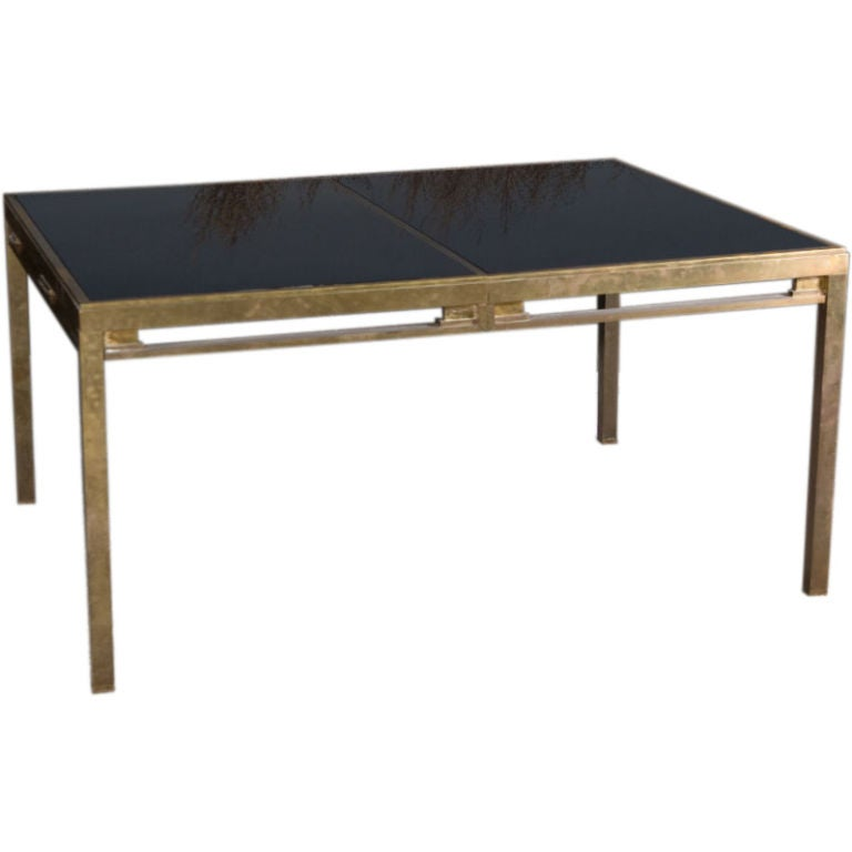 Jansen brass and black glass dining table for sale at 1stdibs for Black glass dining table
