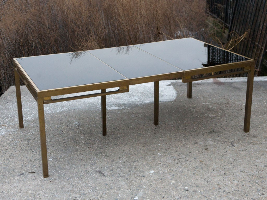 jansen brass and black glass dining table for sale at stdibs - jansen brass and black glass dining table