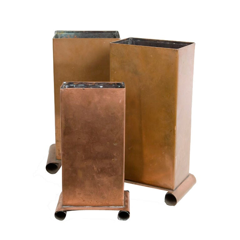 Three Copper Vases For Sale
