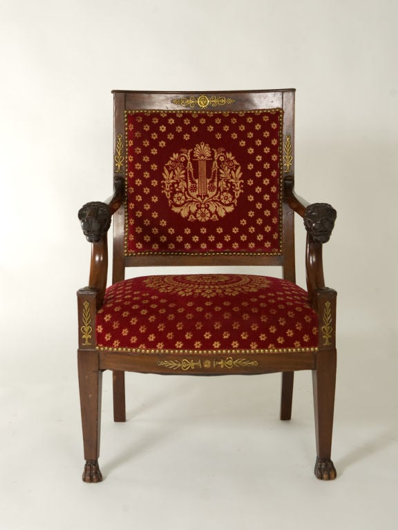 Empire Style Mahogany Armchair For Sale at 1stdibs