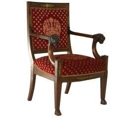 Empire Style Mahogany Armchair