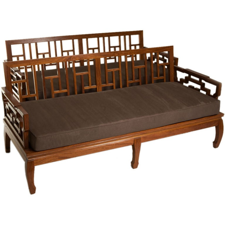 Pair of Rosewood Chinese Couches For Sale