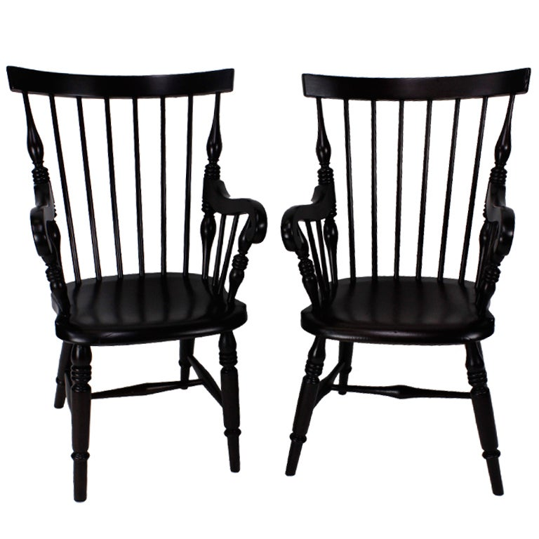 Pair of Jamaican Windsor Arm Chairs