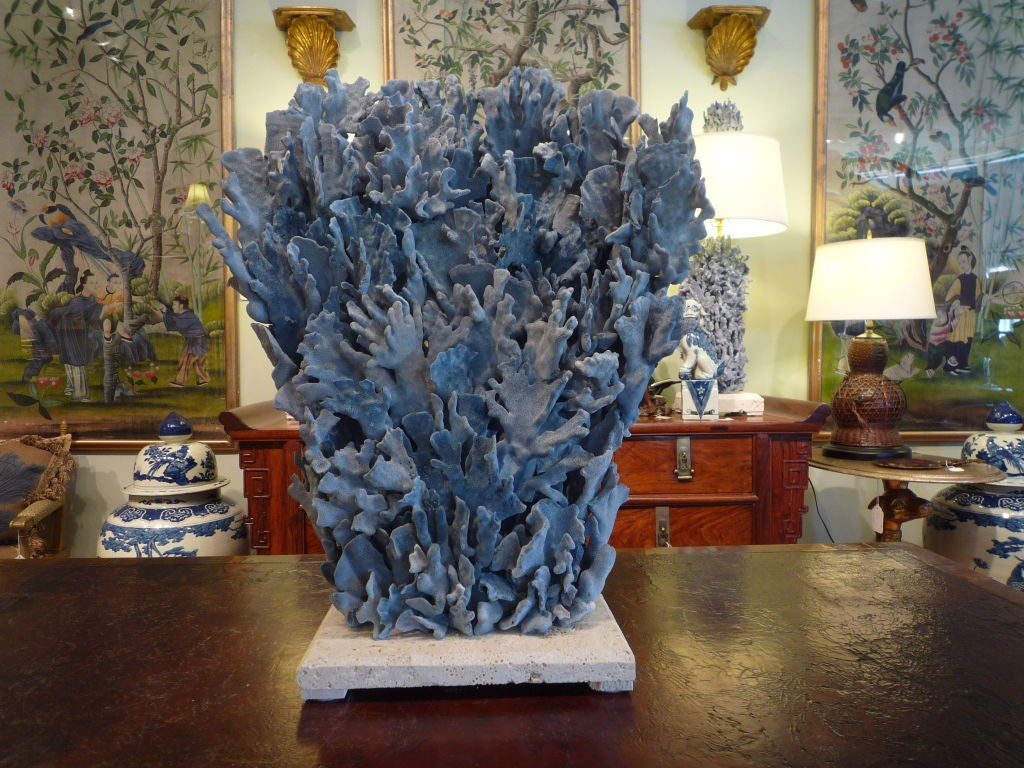 Exceptional and large blue coral sculpture or centerpiece