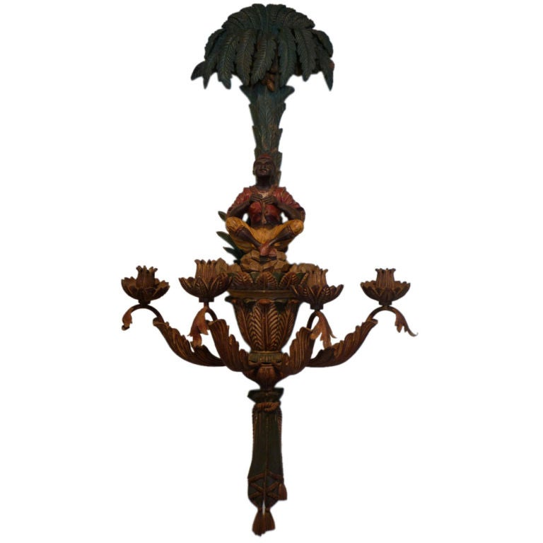 Large and Exceptional Palm Tree and Blackamoor Wall Sconce at 1stdibs