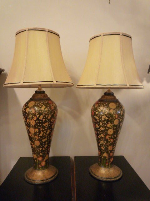 Pair of papier mache kashmiri lamps at 1stdibs for How to make paper mache lamps