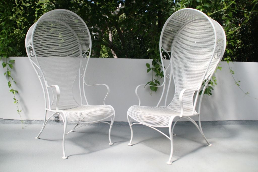 pair of white wrought iron hood patio chairs at 1stdibs