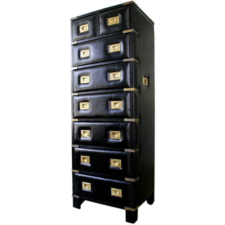 Black Leather Lingerie Jewely Chest Of Drawers At 1stdibs