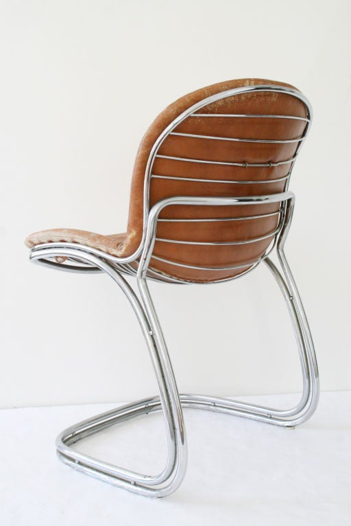 4 gastone rinaldi chrome and leather dining chairs at 1stdibs