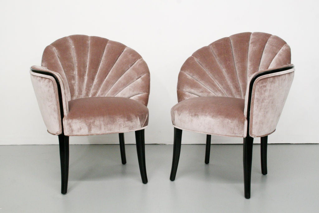 Pair of 1920 39 s art deco shell back boudoir chairs at 1stdibs for Examples of art deco furniture