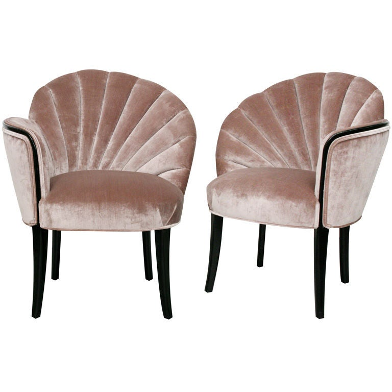 Pair Of 1920 39 S Art Deco Shell Back Boudoir Chairs At 1stdibs