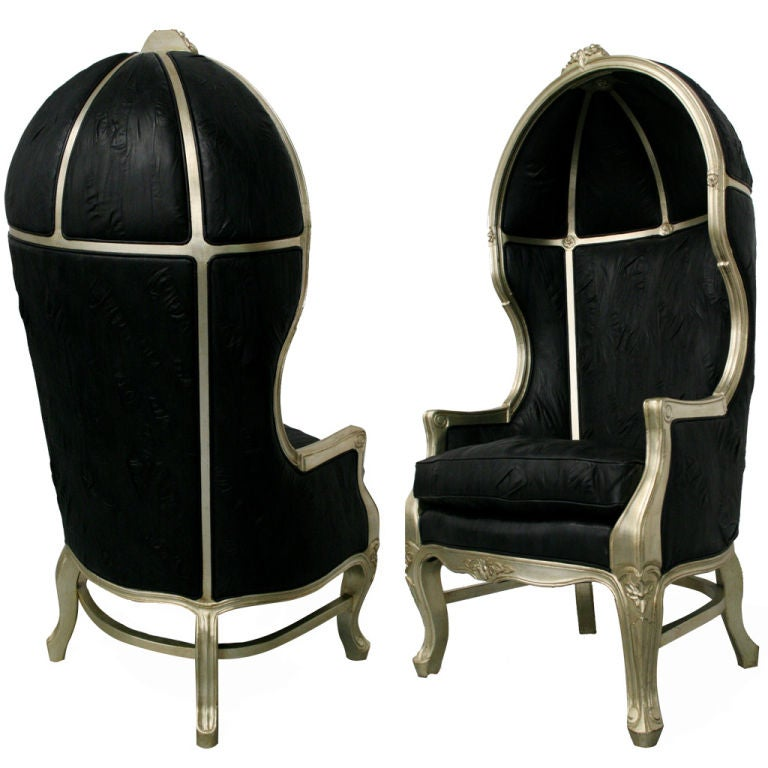 Pair Of French Silver Leaf Leather Hood Canopy Chairs At